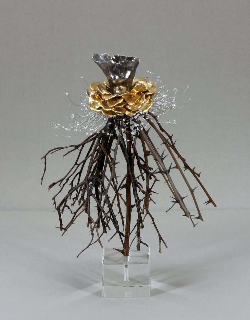 White Gold Torso with Yellow Gold Petals