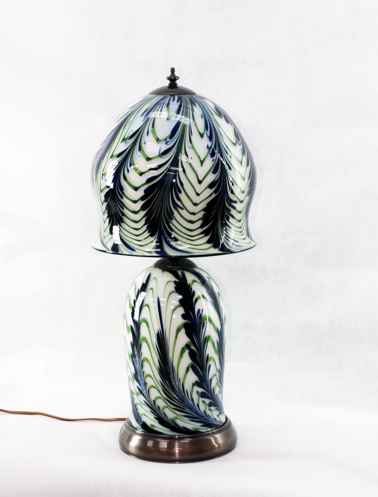 Opal Lamp with Cobalt Wisteria