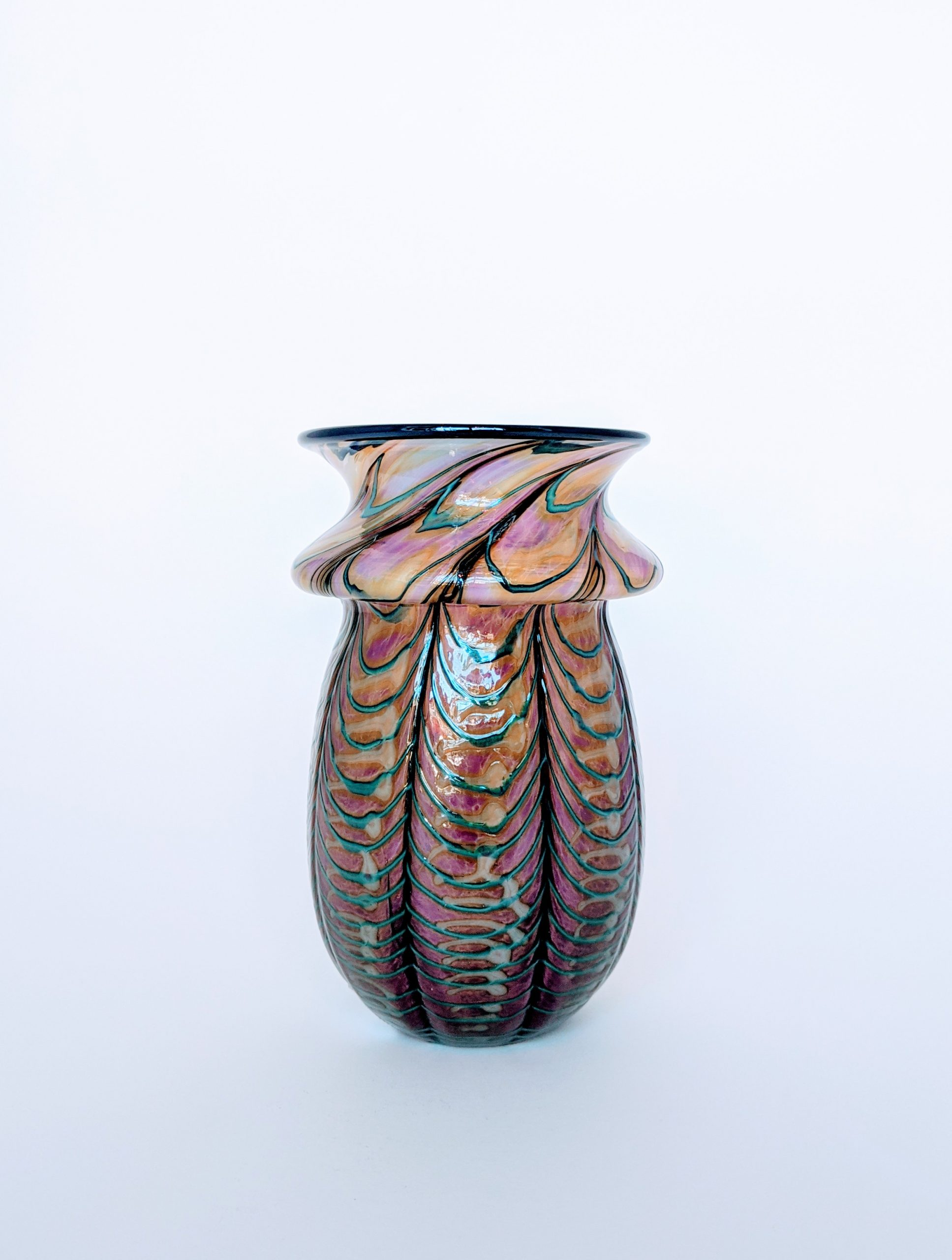 Threaded Web Vase - Pink