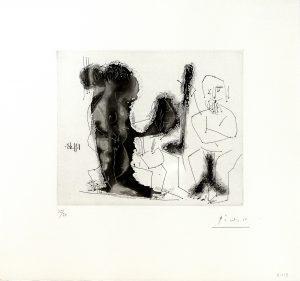 Picasso - Vieux Peintre Avec Modele Barbu et une Spectatrice