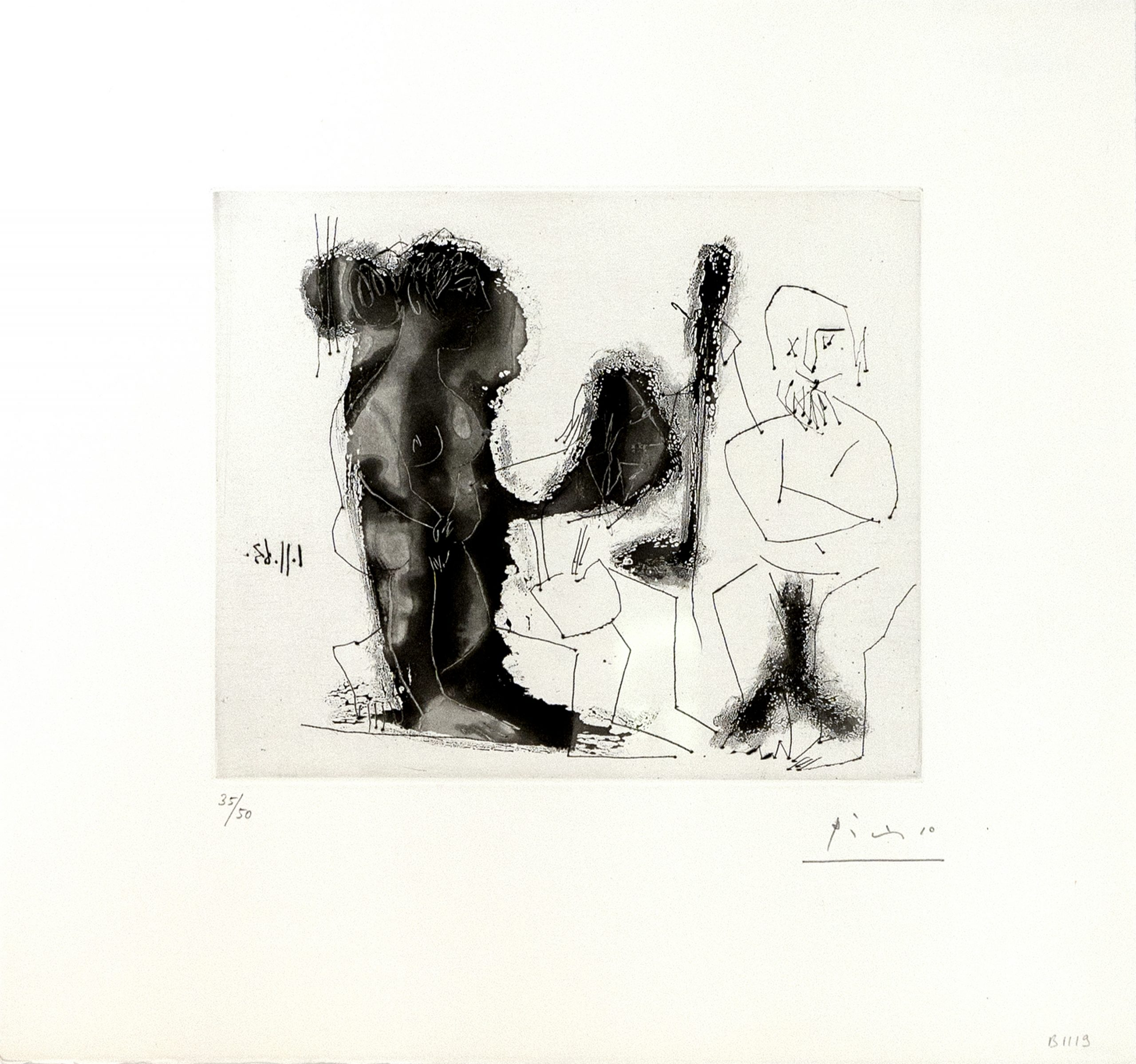 Vieux Peintre Avec Modele Barbu et une Spectatrice