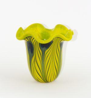Charles Lotton - Mandarin Yellow Vase with Ruffled Mouth and Aventurine Green Peacock